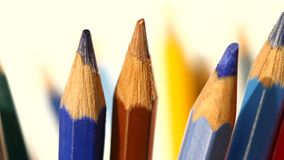 Top of lotsa different colour pencils on white stock footage