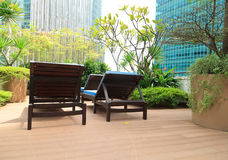 Top lounge with skyscrapers background Stock Photo
