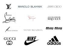 Top 12 Luxury Footwear Brands and Logos Stock Image