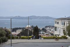 The top of the Lyon Street Steps looking towards San Francisco Bay and Marin beyond, 1. Many of San Francisco`s steps have very beautiful mosaics added to the royalty free stock photos