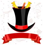 top magic hat and ribbon Stock Photo