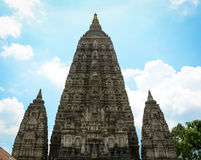 Top of the Mahabodhi Temple in Gaya, India.  Royalty Free Stock Image