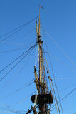 Top of the main mast. Top of main mast from a sailing ship Royalty Free Stock Images