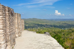 On top of the main pyramid at Xunantunich archaeological site, Belize Royalty Free Stock Photos