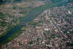 From the top of Makassar city. Aerial view arroung Gowa regency Stock Photography