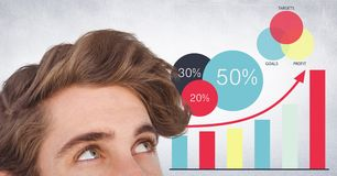 Top of man`s head against graphs and white wall Stock Photography