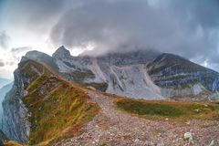 Top Mangart in the Triglav National Park Royalty Free Stock Photo