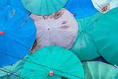 Top many umbrellas on the market. stock images