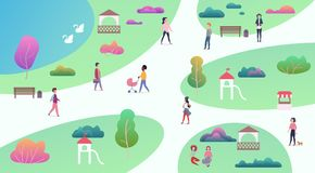 Top map view of various people at park walking and performing leisure outdoor sport activities. City park with lake. Top map view of various people at park stock illustration