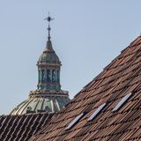 The top of the Marble Church/Frederik`s Church in Copenhagen, Denmark royalty free stock photo