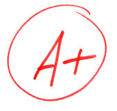 Top mark. A plus (A+) in red circle on paper - top grade or mark Royalty Free Stock Image