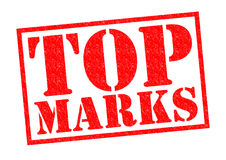 TOP MARKS. Red Rubber Stamp over a white background Stock Photography