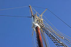 Top of the mast of a sailing ship Royalty Free Stock Images