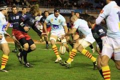 Top matchen USAP för rugby 14 vs TÄVLINGS- METRO 92 Arkivbild