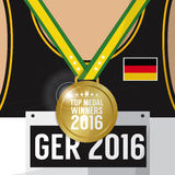 Top Medal Winner 2016 Sport Competition Concept Germany Flag. Royalty Free Stock Image