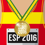 Top Medal Winner 2016 Sport Competition Concept. Royalty Free Stock Images