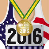 Top Medal Winner 2016 Sport Competition Concept. Royalty Free Stock Photo