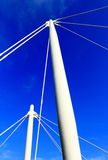 The top of metal pillar. The top of white metal supports with blue sky Royalty Free Stock Photo