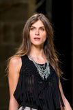 The top model Elisa Sednaoui walks the runway for the Mango collection at the 080 Barcelona Fashion Week Stock Photos