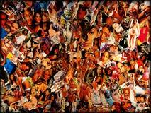 Top model famose intorno di arti della carta da parati del fondo del collage del mondo immagine stock