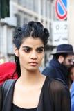 Top model Milano, inverno 2015 2016 di autunno dello streetstyle di settimana di modo di Milano Fotografie Stock