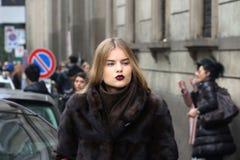 Top model Milano,milan fashion week streetstyle  autumn winter 2015 2016 Royalty Free Stock Photography