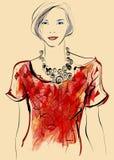 Top model nello stile dell'acquerello Fotografia Stock