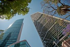 Top of modern architecture in the centre of Mexico city Stock Photo