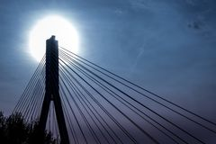 Top of modern bridge during sundown Royalty Free Stock Photography