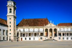 The university town Coimbra, Portugal. On top of the Mondego mountain lies the oldest Portuguese university Stock Image