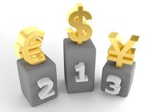 Top 3 money currencies. 3d illustration of the top 3 currencies Royalty Free Stock Images