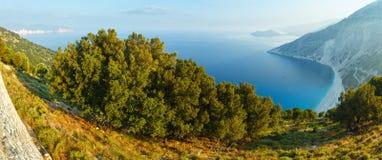 Top morning view of Myrtos Beach (Greece,  Kefalonia). Stock Photos