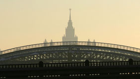 Top of Moscow University building after arc bridge Stock Image
