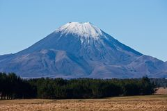 The top of the Mount Doom / Ngauruhoe covered in snow overlooking fields and trees in New Zealand. The top of the Mount Doom / Ngauruhoe covered in snow stock photos