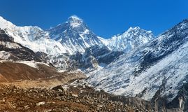 Top of Mount Everest from Gokyo valley Stock Image