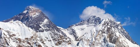 Top of Mount Everest and Lhotse from Gokyo valley Royalty Free Stock Image