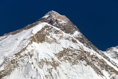 Top of Mount Everest, from mount Pumo Ri base camp Royalty Free Stock Photo