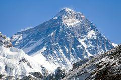 Top of Mount Everest - way to Everest base camp Stock Photos