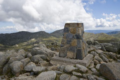 Top of Mount Kosciuszko. Australia. Monument on the top of Mount Kosciuszko. Australia Stock Photo