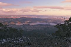 On top of Mount Wellington in Hobart, Tasmania during the day. View on top of Mount Wellington in Hobart, Tasmania during the day Royalty Free Stock Photography