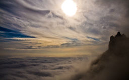 On top of the mountain Ai-Petri. Above the clouds Royalty Free Stock Image
