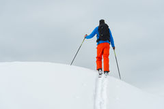 A top the mountain alone with ski mountaineering Royalty Free Stock Images