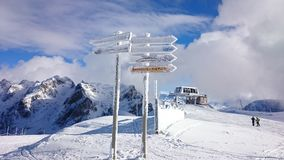 Top of the mountain in Chamrousse. Winter view of Chamrousse skiresort Royalty Free Stock Image