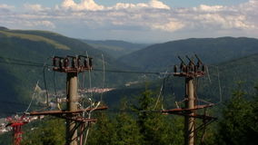 Top of mountain electricity pillars stock video footage