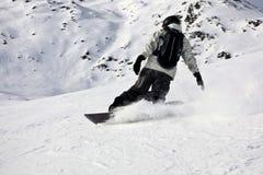 Top Mountain Extreme Snowboarding Slide Royalty Free Stock Photos