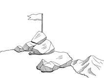 Top mountain graphic art flag black white landscape sketch illustration. Vector Stock Photo