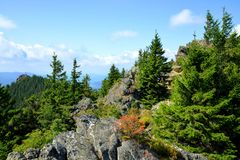 Top of the mountain Grosser Osser in National park Bavarian forest, Germany. Royalty Free Stock Images