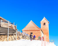 On the top of the mountain Hohe Salve. Pilgrimage church. Ski resort  Soll, Tyrol, Austria Royalty Free Stock Photo