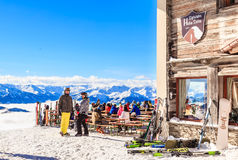 On the top of the mountain Hohe Salve. Ski resort  Soll, Tyrol,. Austria Stock Images