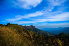 Top of mountain. Khao Chang Puak mountain in Thailand in Thong Pha Phum national park. This place for backpack hiking visit Stock Photos